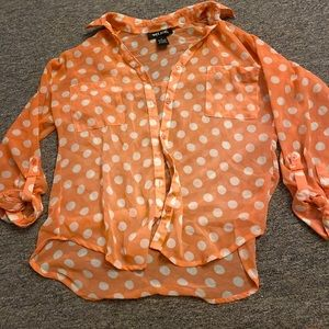 Orange & White see thru polka blouse